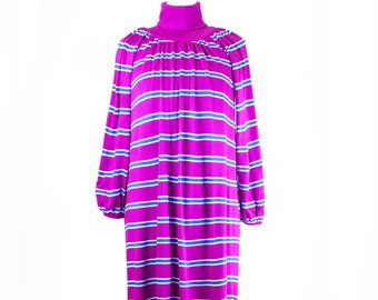 80s Bright Purple Blue Striped Lined Sweaterdress