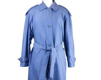 90s Misty Harbor Blue Trench Coat Women's 8