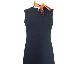 70s Bleeker Street Black Dress with Scarf