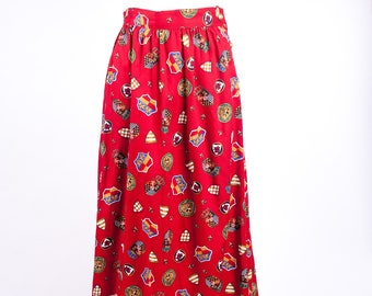 90s Red & Gold Baroque Pattern Skirt