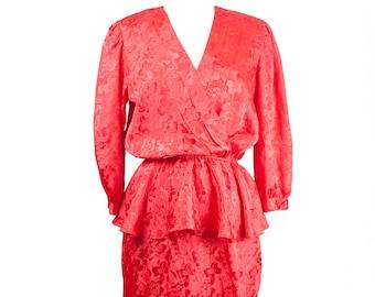 80s Red Floral Peplum Dress