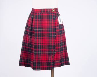 90s Red Plaid Pleated Schoolgirl Skirt