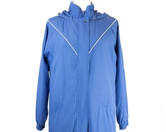 60s Blue White Reversible Collar Lined Coat