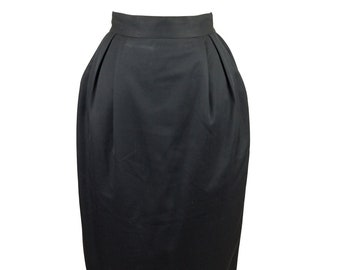 90s Eleanor P. Brenner Black Pleated Wool Pencil Skirt