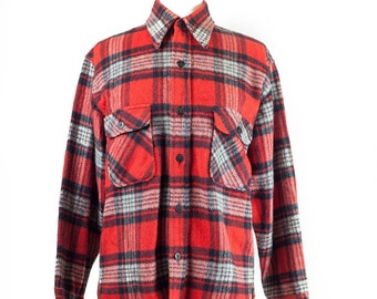 80s Red Plaid Lined Wool Shirt
