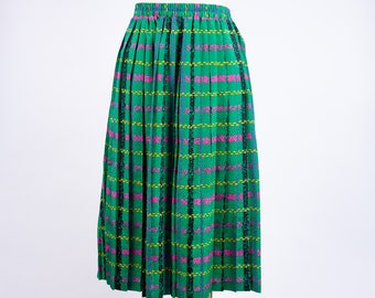80s Silky Green Plaid Skirt