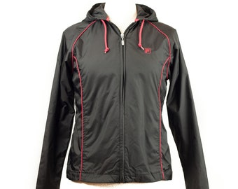 90s Fila Black Red Windbreaker Jacket Women's S