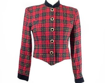 90s Red Plaid Short Fitted Blazer Top