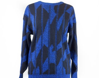 90s Abstract Blue Black Pullover Sweater