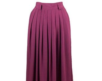 80s Jara Long Maroon Pleated Skirt with Belt Loops M