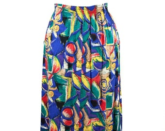 90s Abstract Primary Color Mid-Length Skirt M