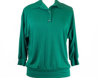 80s Green Collared 3/4 Sleeve Top