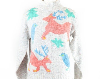 90s Coral Reindeer Pastel Pullover Holiday Sweater