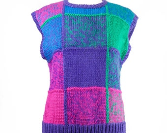 90s Purple Hand-Knitted Sleeveless Sweater Vest