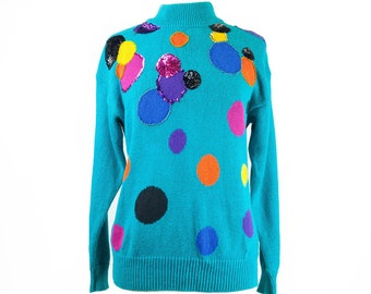 90s Bright Turquoise Multicolor Sequin Pullover Sweater S
