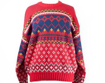 90s Red Navy Unisex Ski Sweater XL