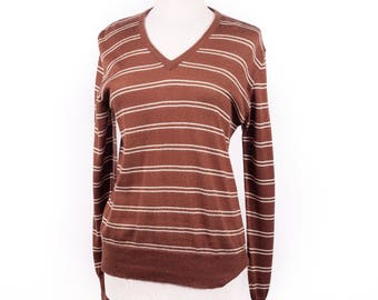 70s Brown and Creme Striped V-Neck Sweater