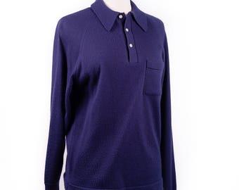 80s Puritan Navy Blue Collared Sweater