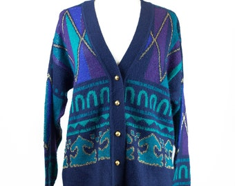 90s Navy Teal Cold Button Cardigan Sweater