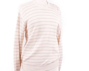 70s Creme White and Dusty Rose Pullover Sweater