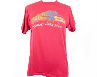 Early 80s Red Harley Davidson T-shirt
