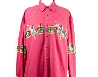90s Wrangler Red Snap Western Shirt XL