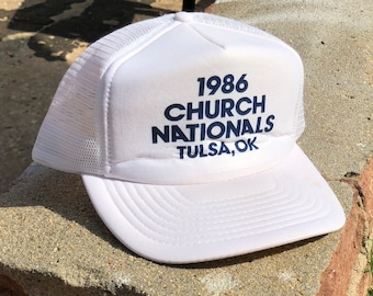 1986 Church White / Navy Snapback Trucker Hat
