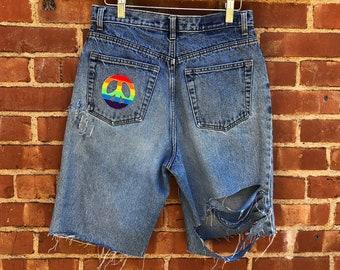 90s Rainbow Custom Distressed Jean Shorts