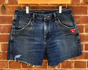 90s Wrangler Custom Distressed Denim Jean Shorts