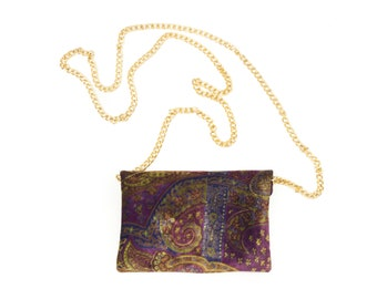 90s Gold Chain Purple Velvet Paisley Shoulder Purse