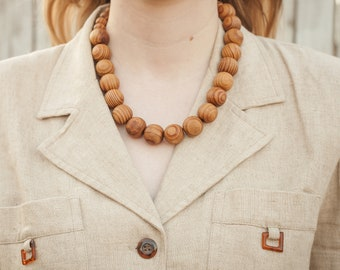 70s Wood Beaded Necklace
