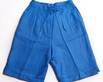 80s Long Blue High Waist Mom Shorts