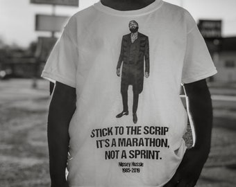 "Nipsey Hussle 1985-2019 Tribute Tee ""Stick to the Script"" Profits Donated"