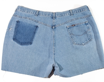 90s Chic High Waist Distressed Jean Shorts Plus Size