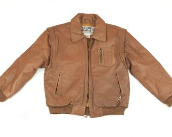 90s Cognac Brown Faux Leather Jacket Kids M Removable Sleeves