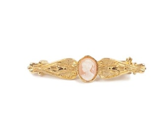 Vtg Peachy Pink Cameo Gold Brooch Pin