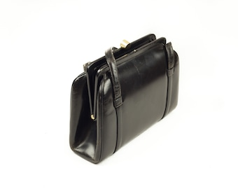 LaDora 60s Black Leather Gold Clasp Handbag Purse