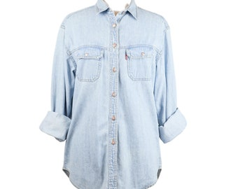 Vtg Levi's Denim Chambray Button Up Shirt Women's L