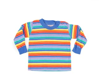 90s Buster Brown Infant Rainbow Striped Shirt 12 mo