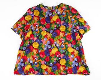 90s Handmade Floral Back Zipper Plus Size Shirt