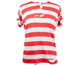 80s Distressed Red White Striped Women's Top