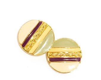80s Mint Green Purple Gold Round Clip On Earrings