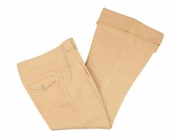 60s Women's Camel Beige Bell Bottom Cuffed Pants