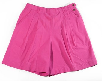 90s Bright Pink Plus Size High Waist Shorts Side Buttons