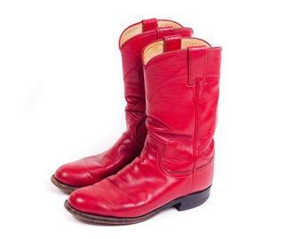 90s Red Justin Roper Boot Size 4.5 Youth