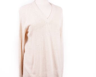 70s Silk Blend Off-White Pullover Sweater