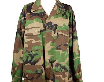 Vintage Unisex Camo Military Button Down Jacket Large