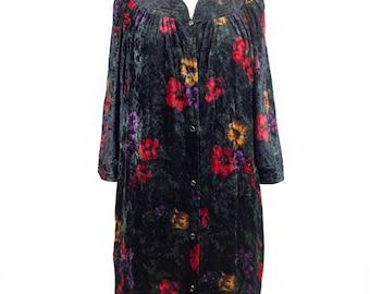 Vintage Floral Black Velvet Women's Gown