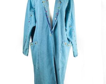 80s/90s Studded Jeweled Long Denim Jacket L