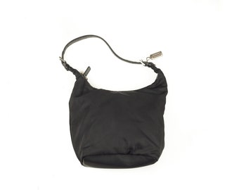 Coach Solid Black Canvas Hobo Tote Handbag